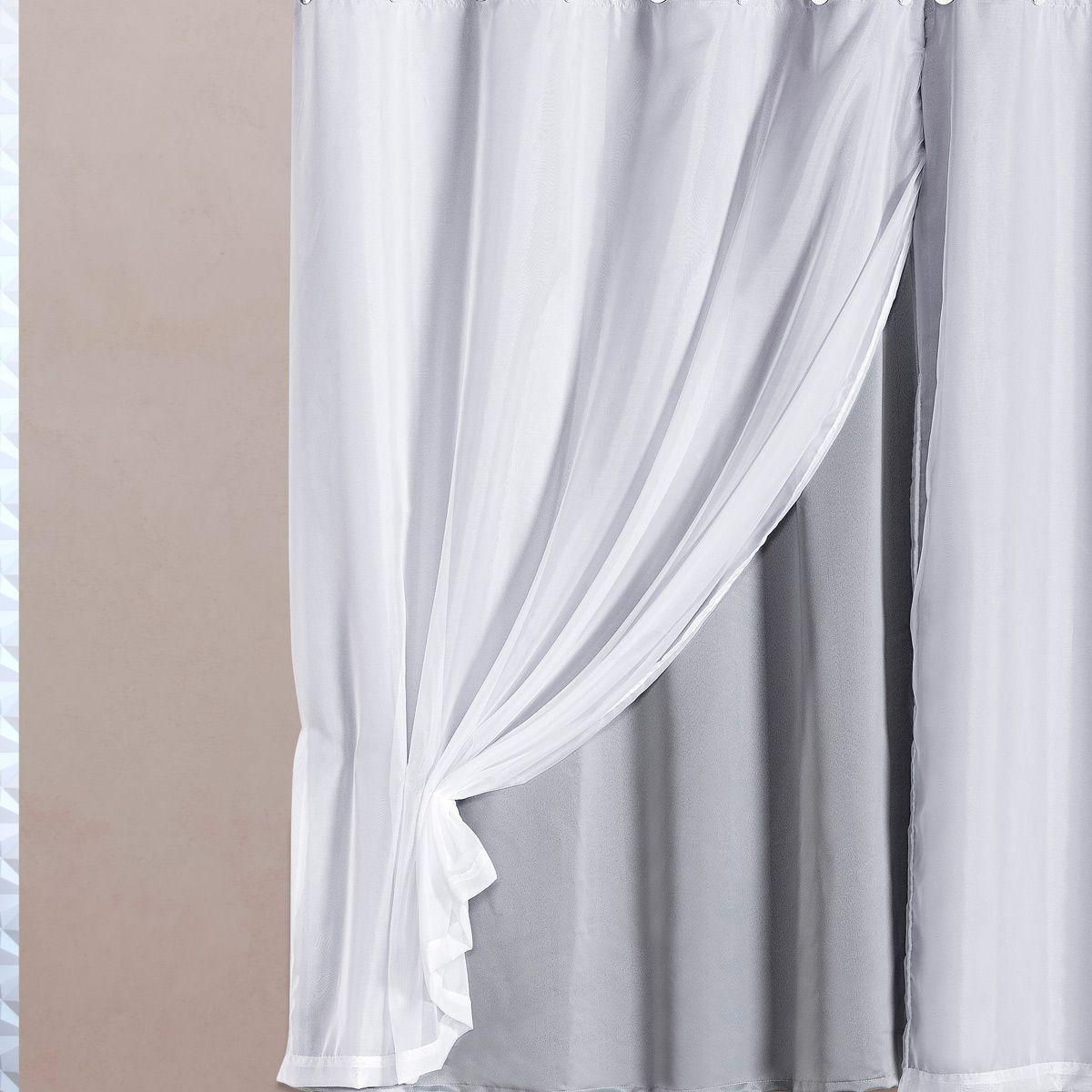 Cortina Blackout em Tecido Class c/ Voil Gelo/Branco Corta Luz 2,80m x 1,60m