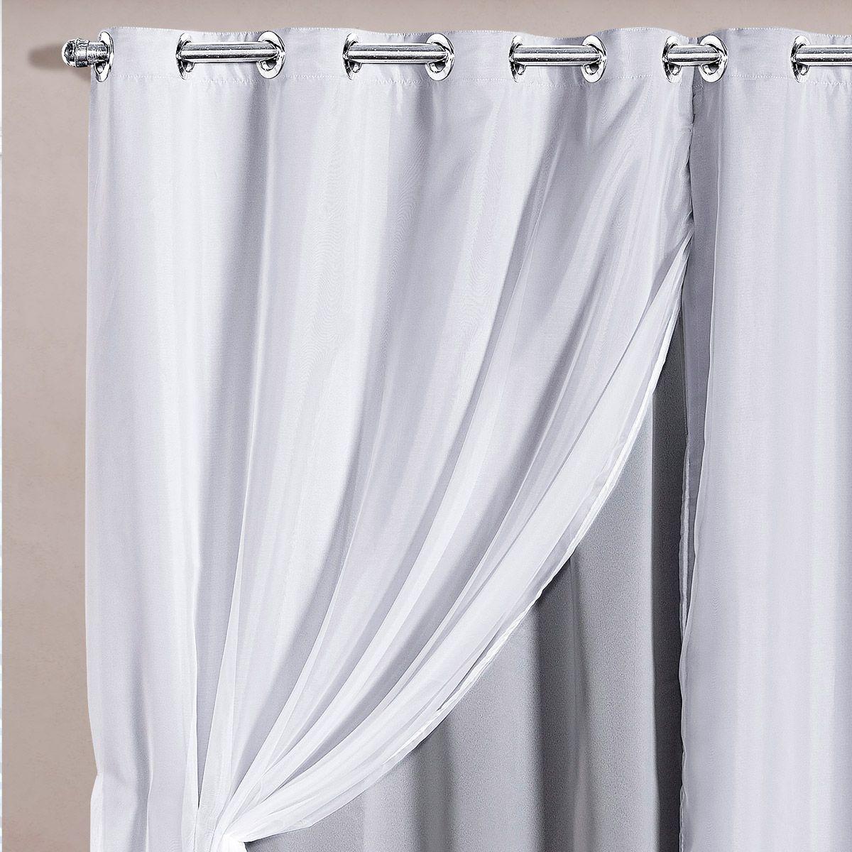 Cortina Blackout em Tecido Class c/ Voil Gelo/Branco Corta Luz 2,80m x 2,30m