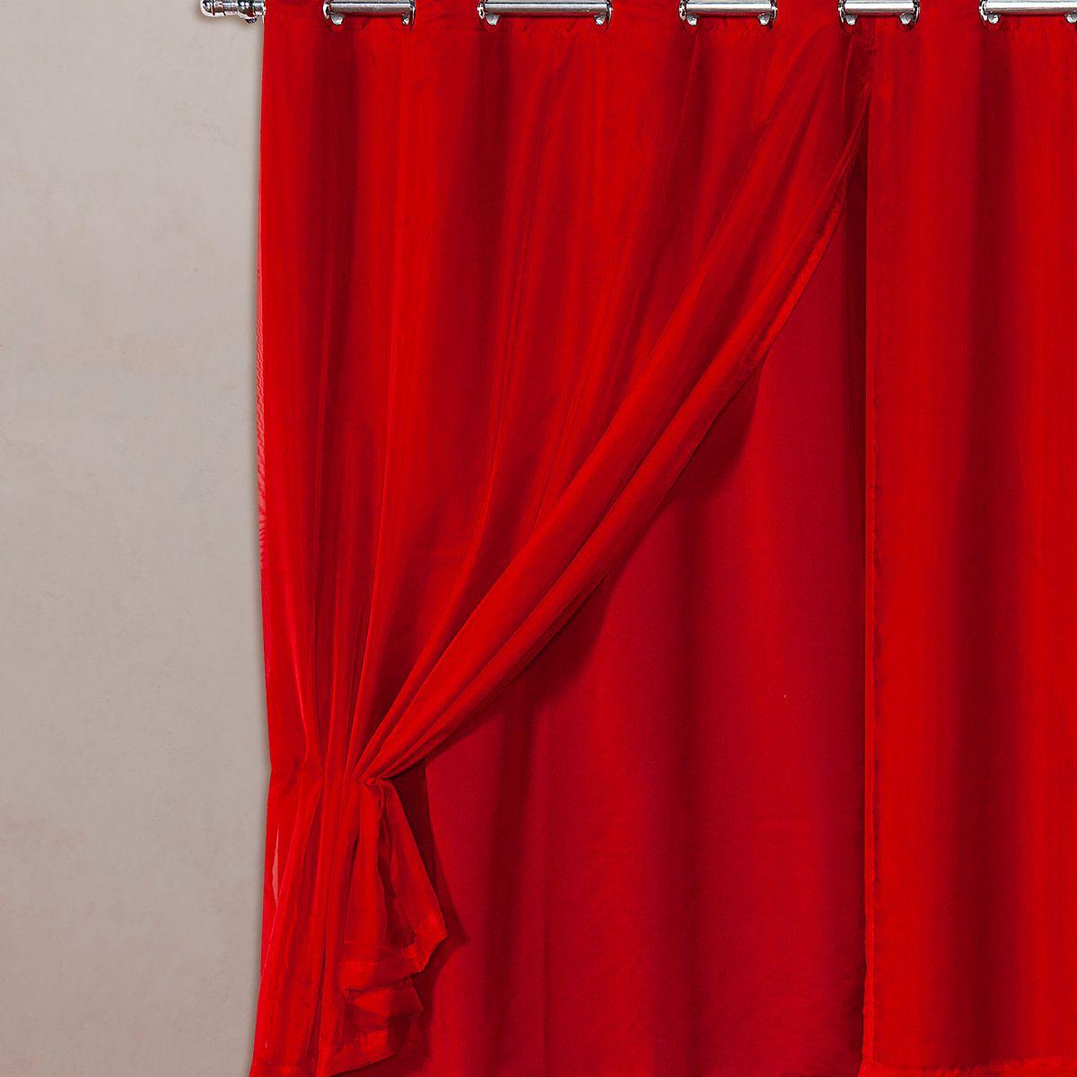 Cortina Blackout em Tecido Class c/ Voil Vermelho Corta Luz 2,80m x 1,60m