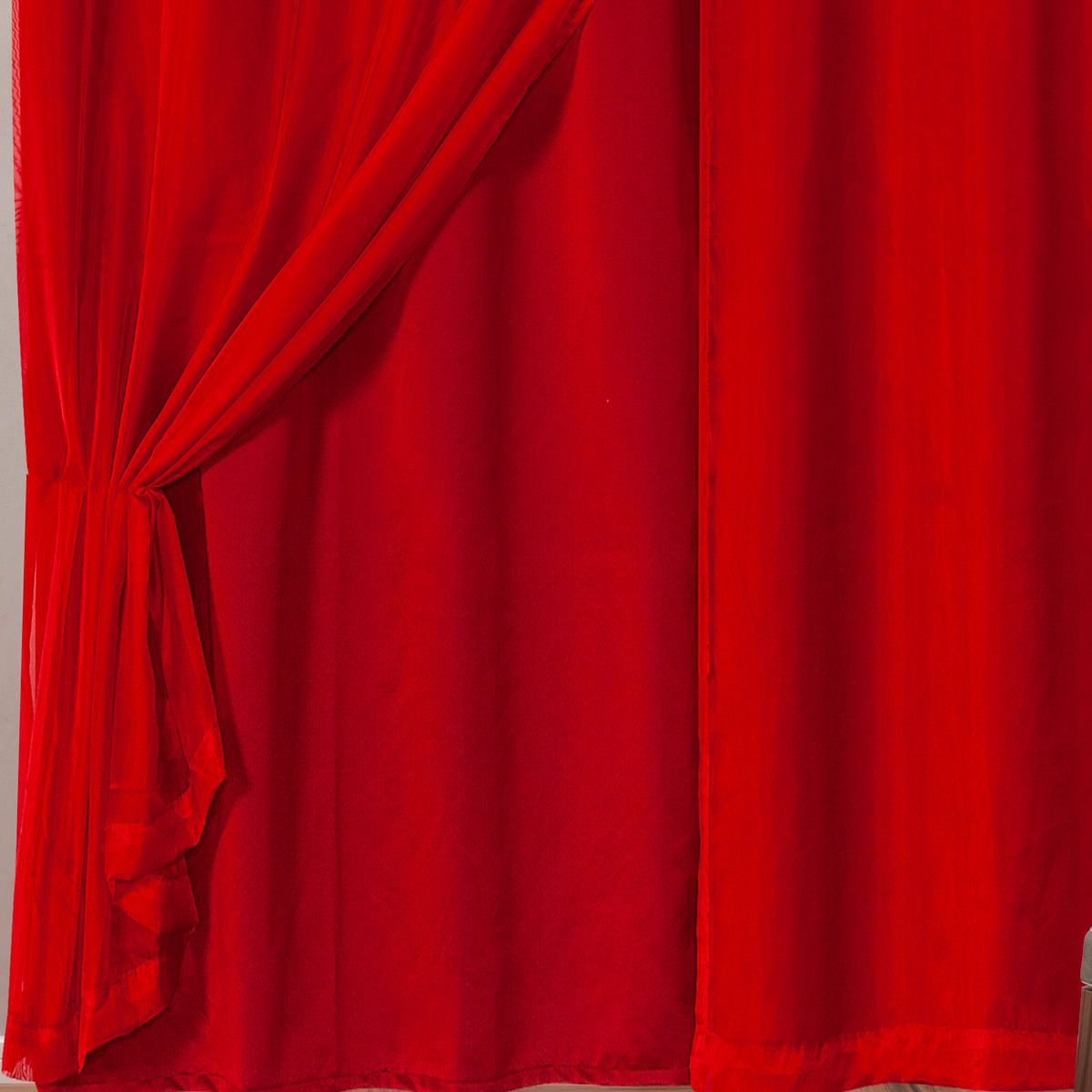 Cortina Blackout em Tecido Class c/ Voil Vermelho Corta Luz 2,80m x 2,30m