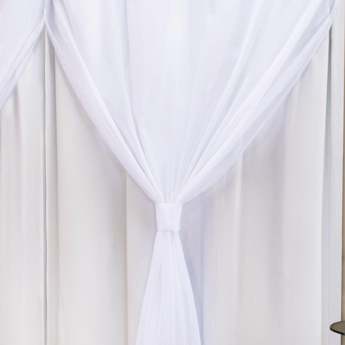 Cortina Blackout PVC c/ Voil Branco Corta Luz 4,20m X 2,50m