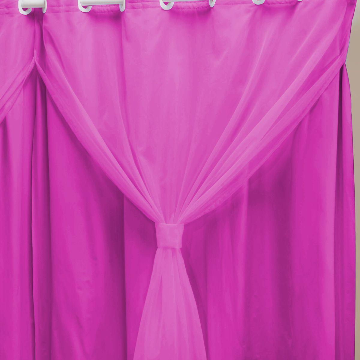 Cortina Blackout PVC c/ Voil Pink Corta Luz 2,00m X 1,40m