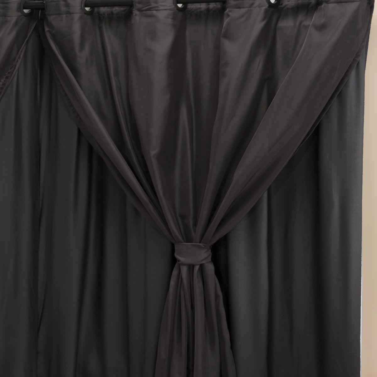 Cortina Blackout PVC c/ Voil Preto Corta Luz 2,00m X 1,40m