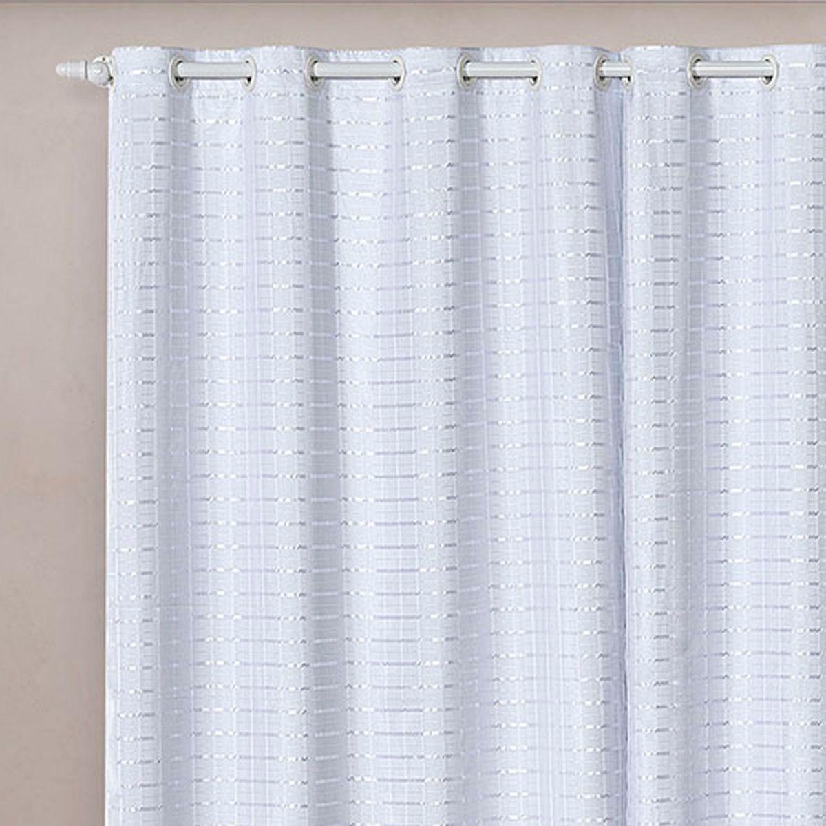 Cortina Blackout PVC c/ Voil Xadrez Branco Corta Luz 2,80m x 2,30m