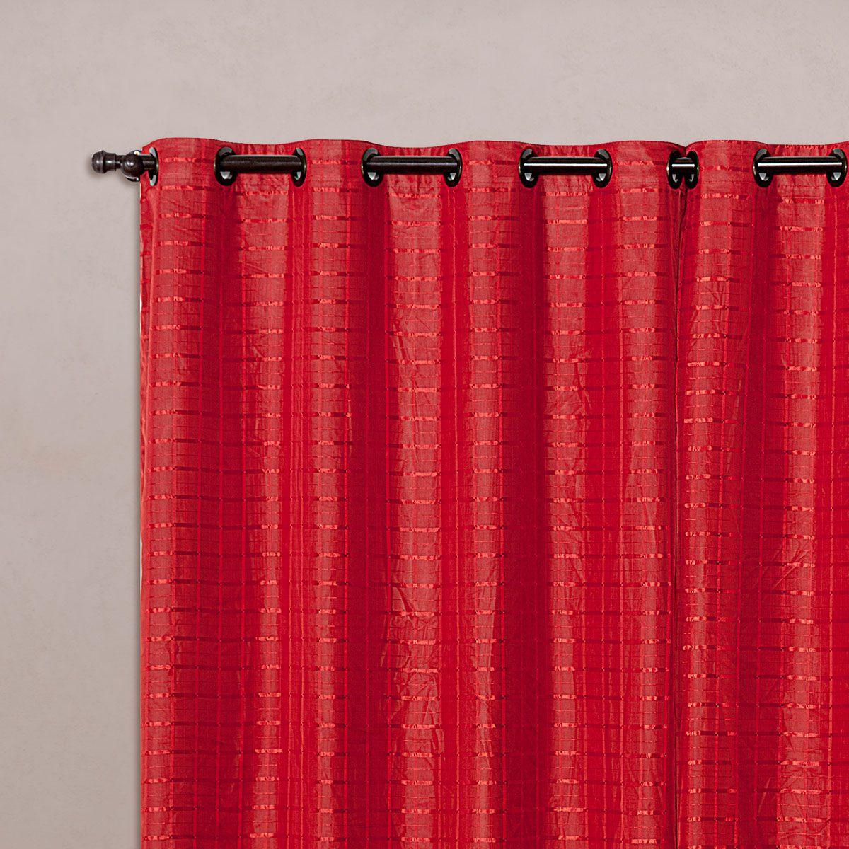 Cortina Blackout PVC c/ Voil Xadrez Vermelho Corta Luz 2,80m X 1,60m