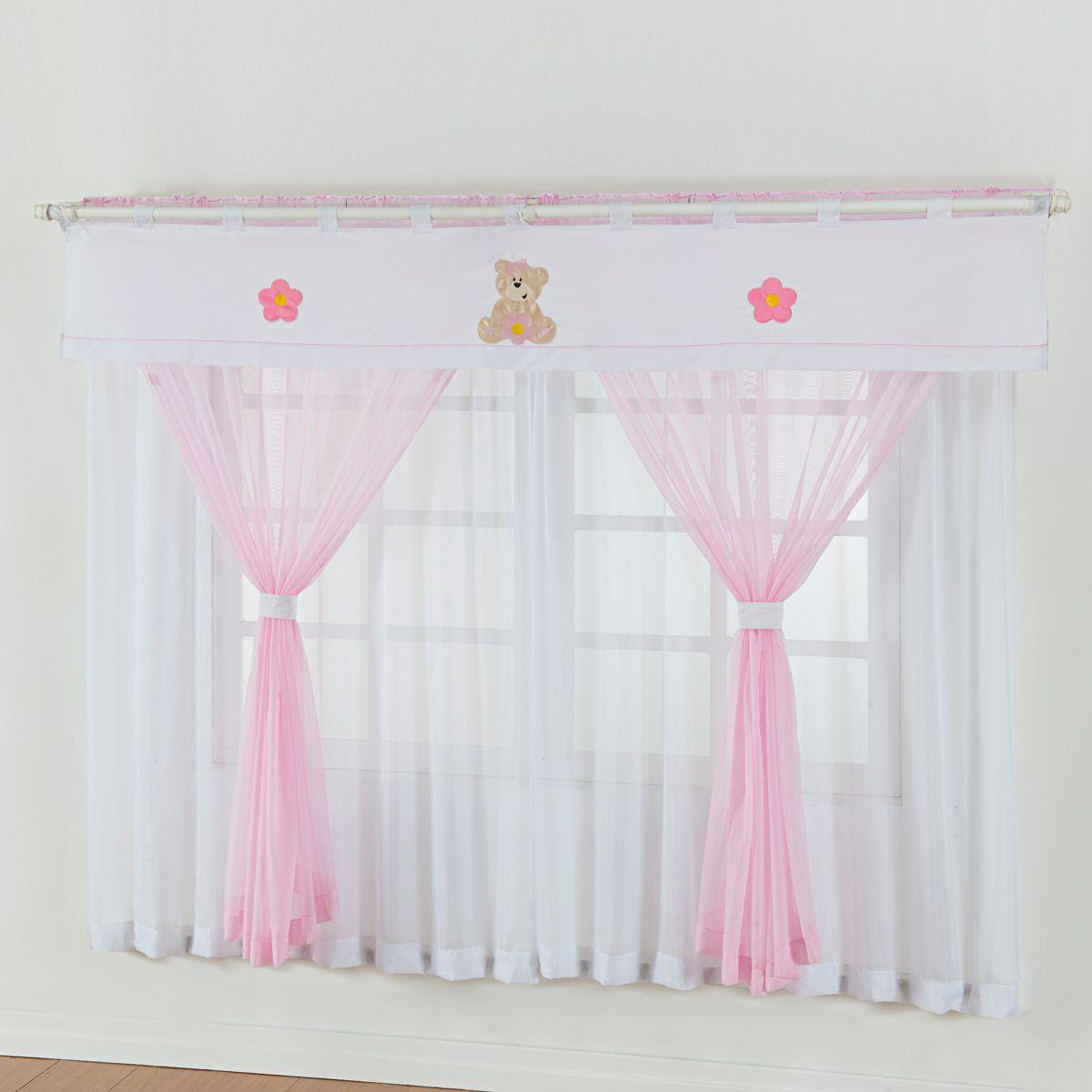 Cortina de Quarto Infantil Ursinho Rosa em Voil - Bandô 140 Fios