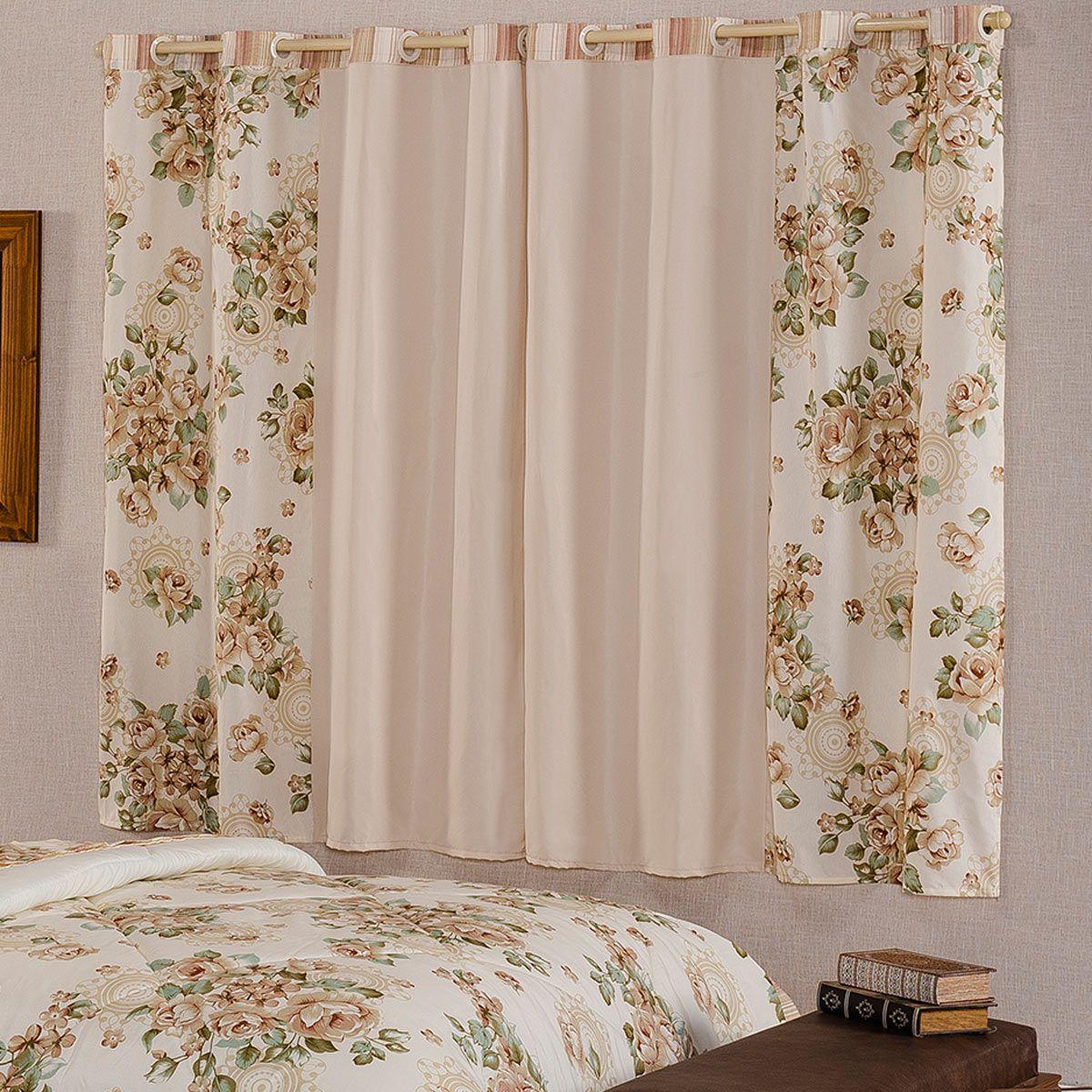 Cortina Esther Floral Palha/Verde 2,00m x 1,70m p/ Varão Simples