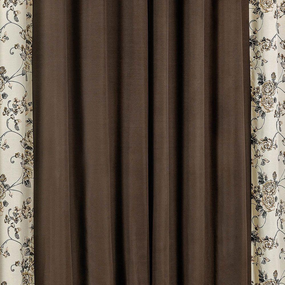Cortina Floratta Tabaco 3,00m x 2,50m p/ Varão Simples