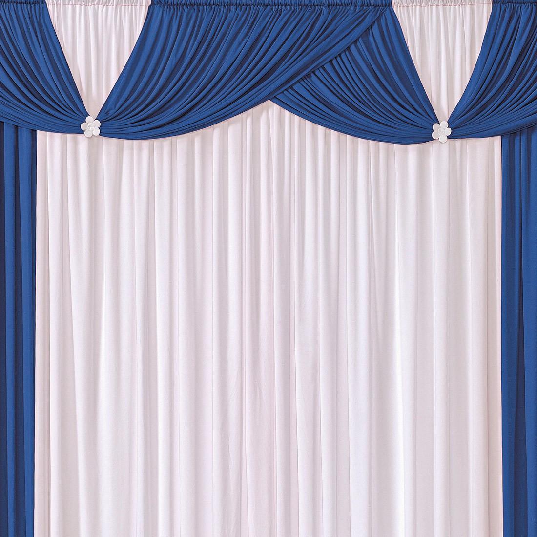 Cortina Londrina Azul/Branco 2,00m X 1,70m p/ Varão Simples