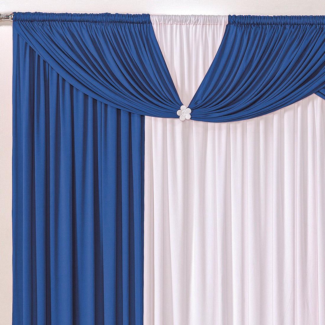 Cortina Londrina Azul/Branco 3,00m X 2,60m p/ Varão Simples