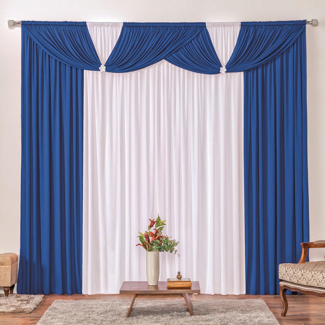 Cortina Londrina Azul/Branco 4,00m X 2,60m p/ Varão Simples