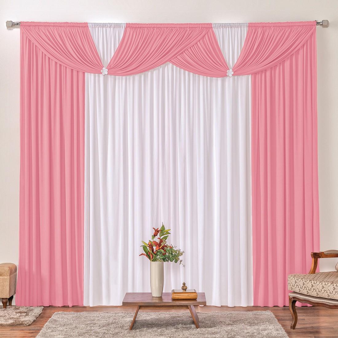 Cortina Londrina Rosa/Branco 2,00m X 1,70m p/ Varão Simples