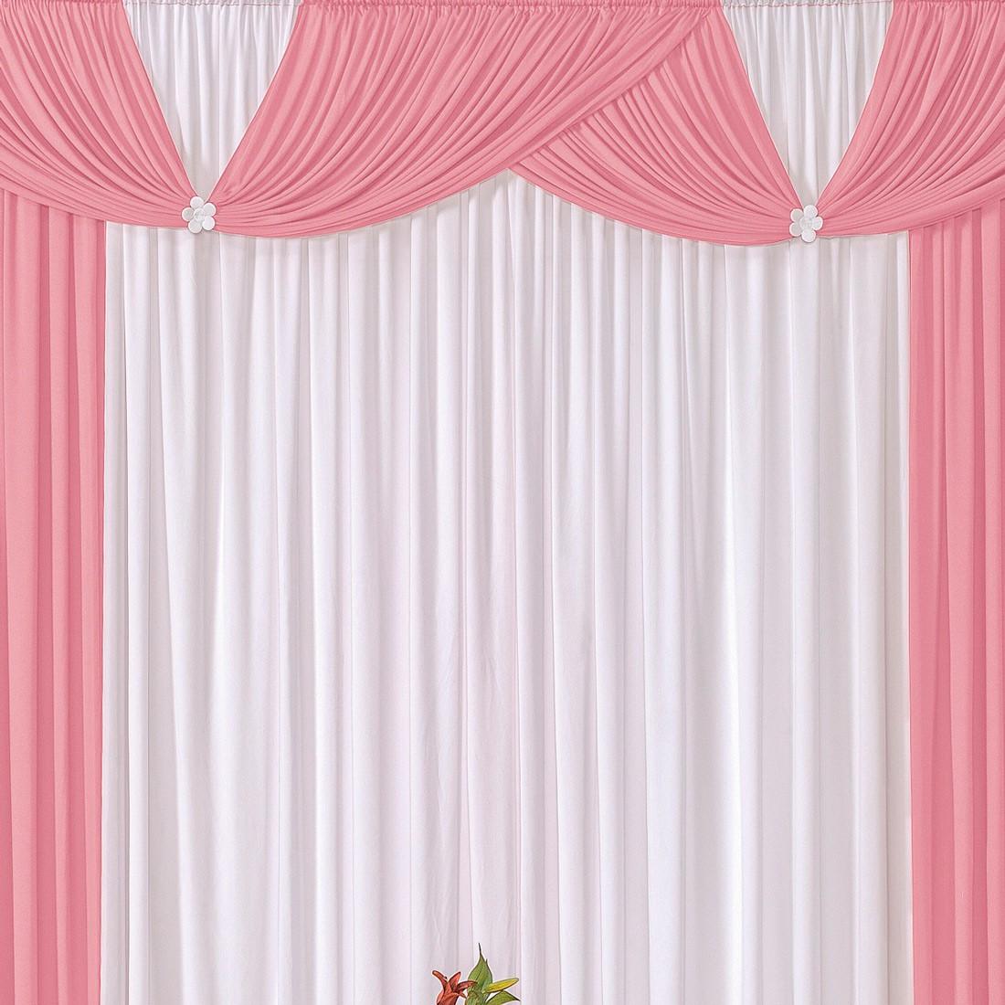 Cortina Londrina Rosa/Branco 3,00m X 2,60m p/ Varão Simples