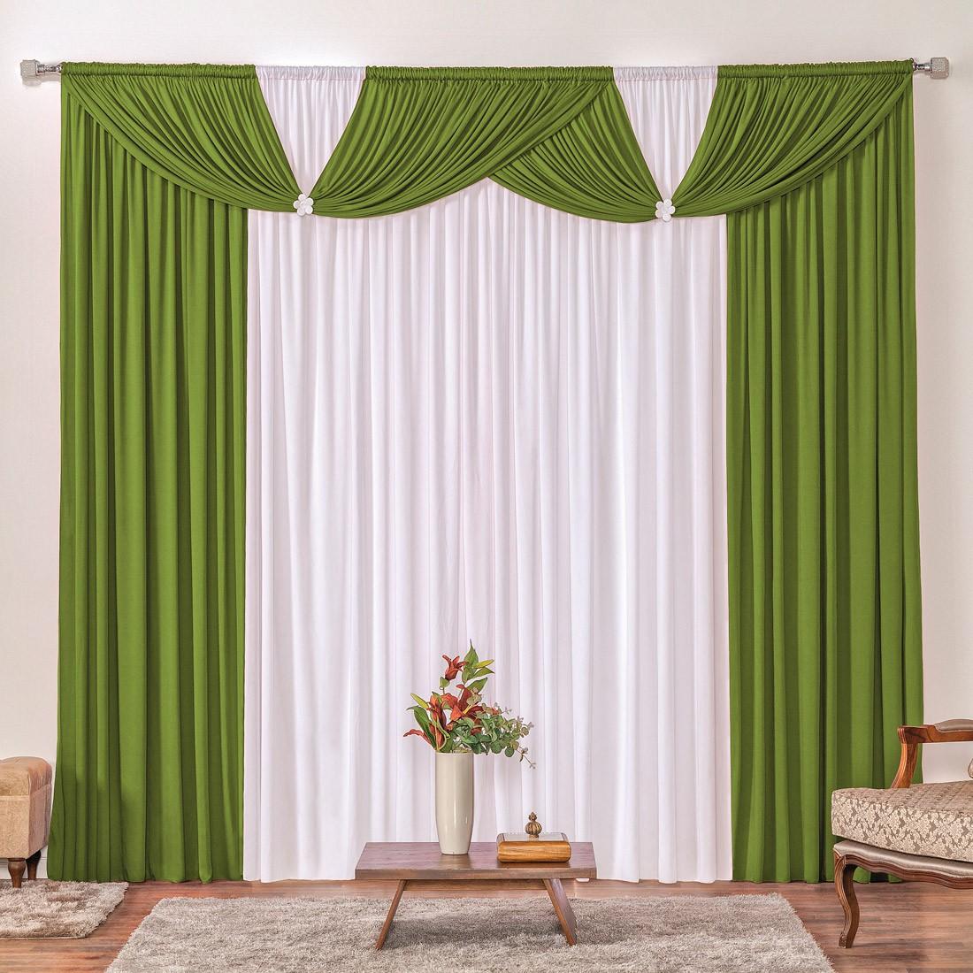 Cortina Londrina Verde/Branco 2,00m X 1,70m p/ Varão Simples