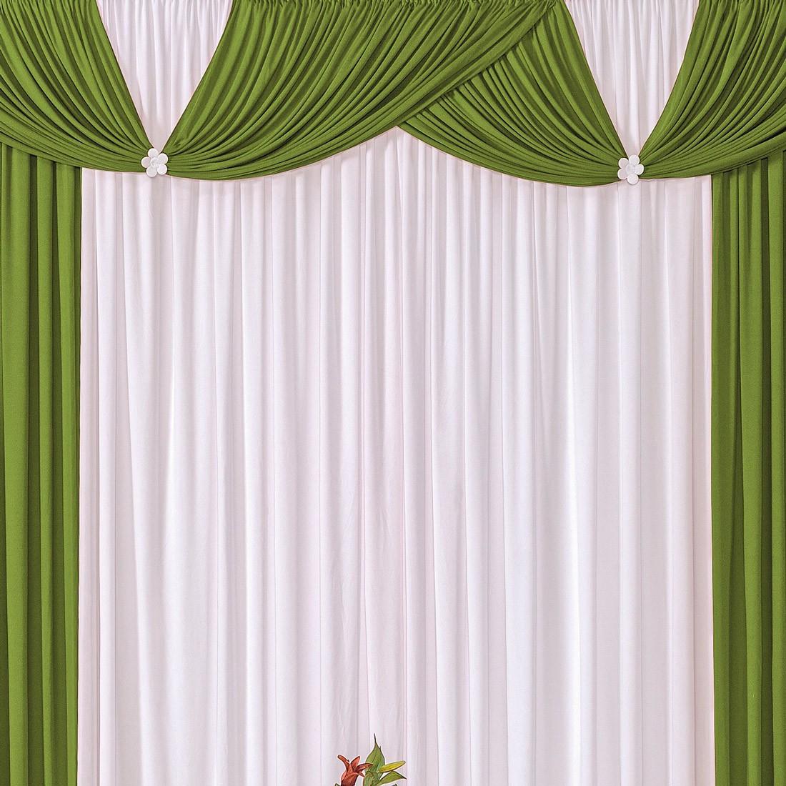 Cortina Londrina Verde/Branco 3,00m X 2,60m p/ Varão Simples