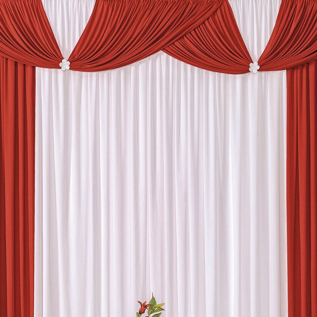 Cortina Londrina Vermelho/Branco 2,00m X 1,70m p/ Varão Simples