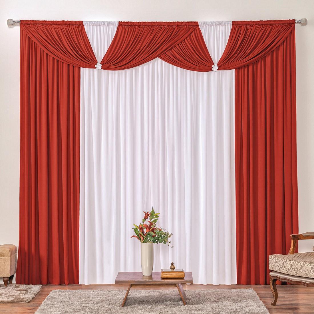 Cortina Londrina Vermelho/Branco 3,00m X 2,60m p/ Varão Simples