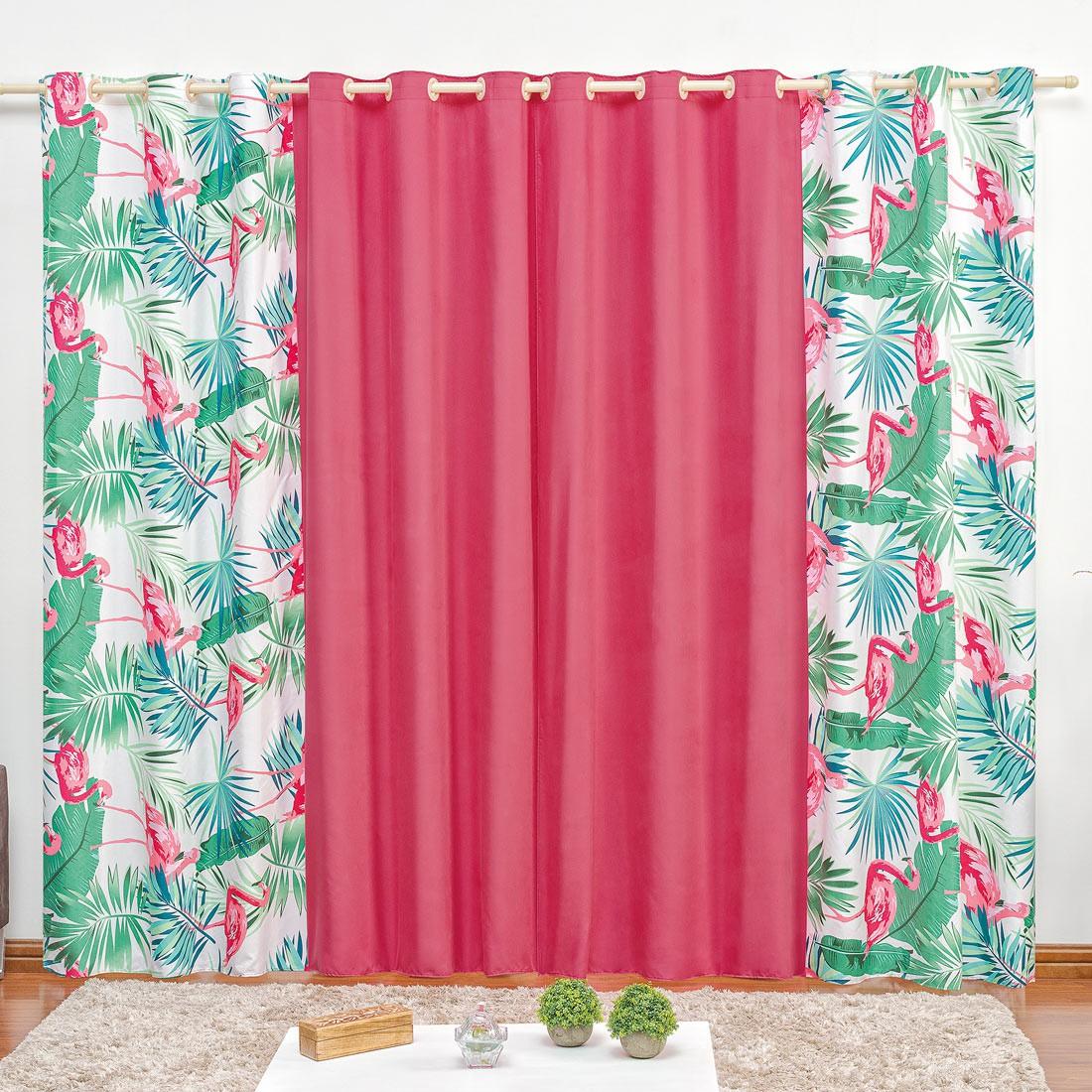 Cortina Forest Flamingo 3,00m x 2,60m p/ Varão Simples