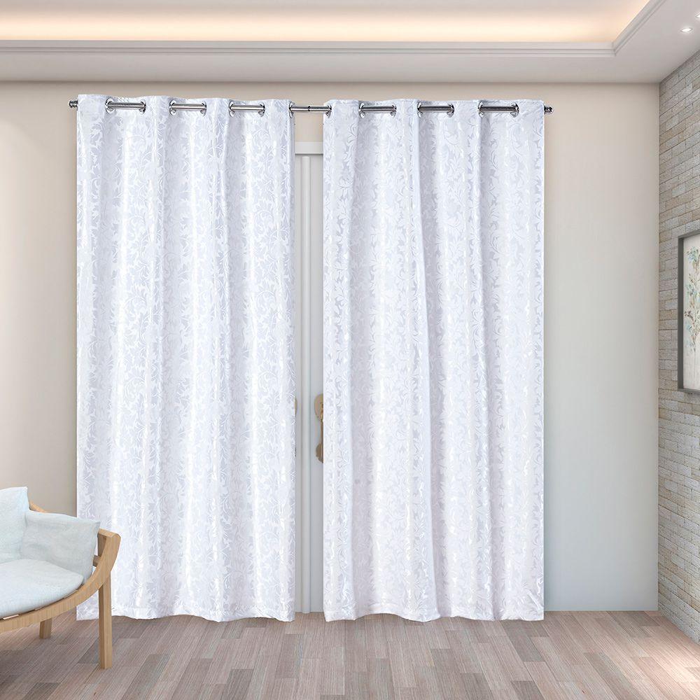 Cortina Jacquard Branco 2,80m X 2,30m p/ Varão simples de até 2,00m