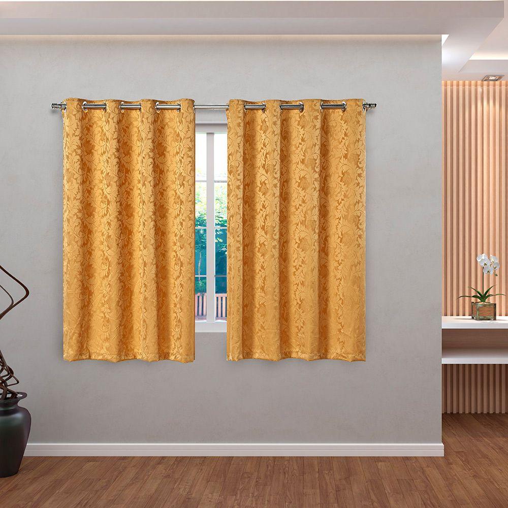 Cortina Jacquard Dourado 2,80m X 1,60m p/ Varão simples de até 2,00m