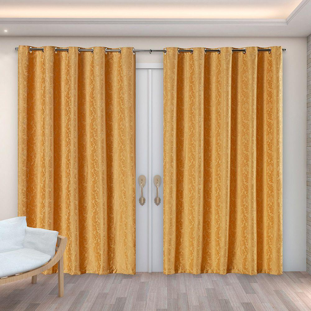 Cortina Jacquard Dourado 4,00m X 2,70m p/ Varão simples