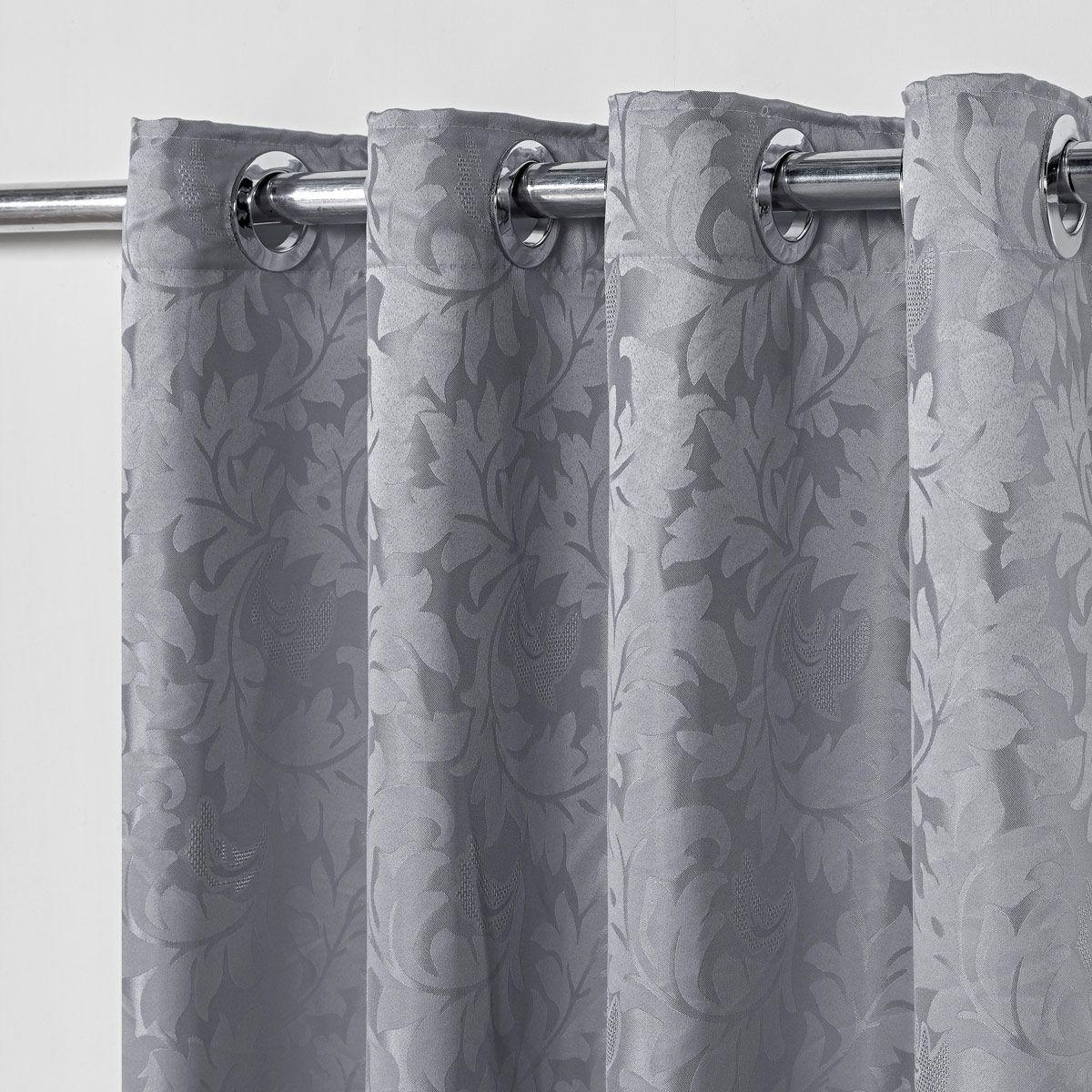 Cortina Jacquard Prata 2,80m X 1,60m p/ Varão simples de até 2,00m