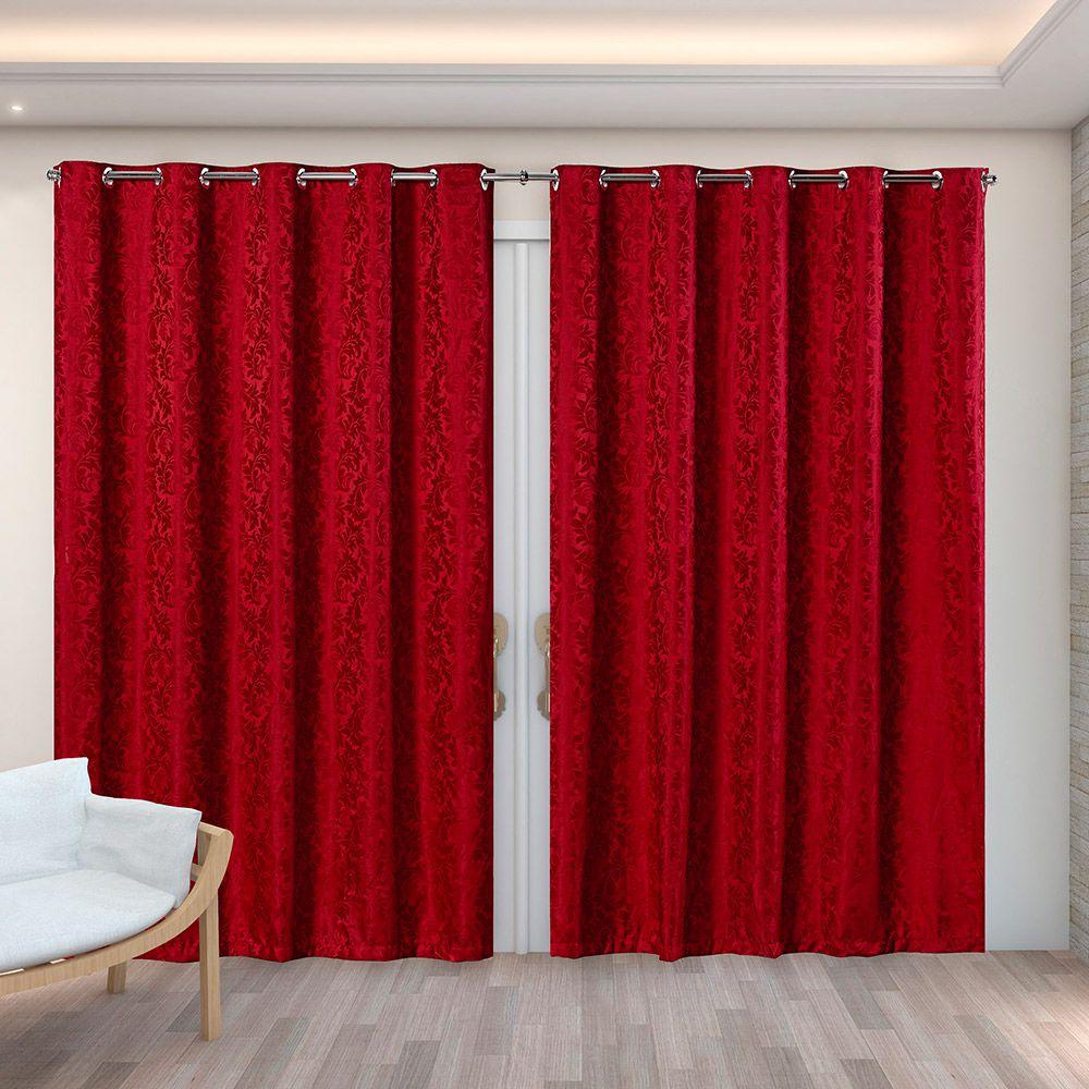 Cortina Jacquard Vermelho 4,00m X 2,70m p/ Varão simples