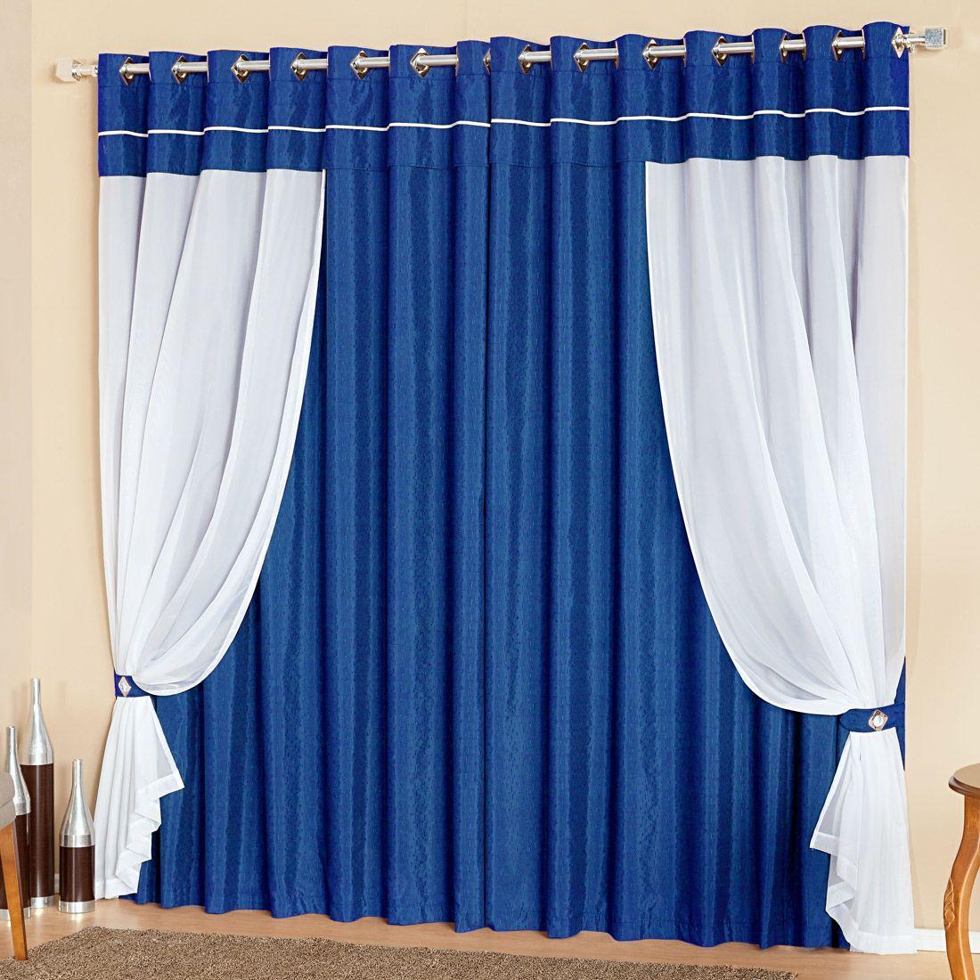 Cortina Lívia Azul c/ Voil 2,00m x 1,70m p/ Varão Simples