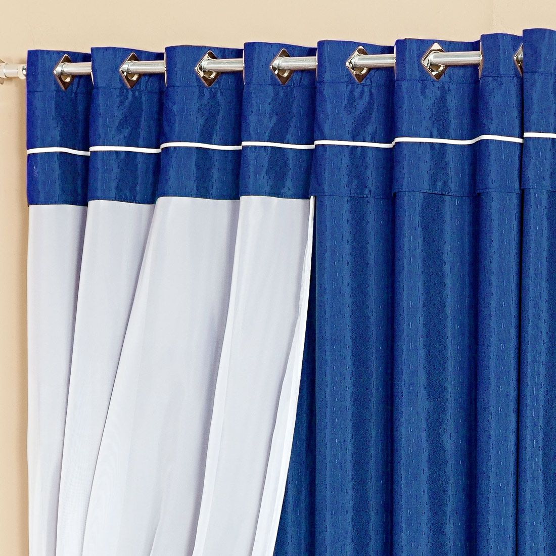 Cortina Lívia Azul c/ Voil 3,00m x 2,50m p/ Varão Simples