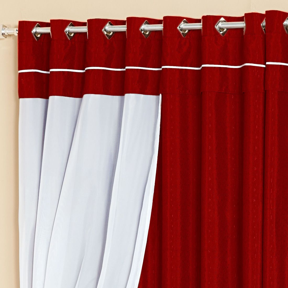 Cortina Lívia Vermelho c/ Voil 3,00m x 2,50m p/ Varão Simples