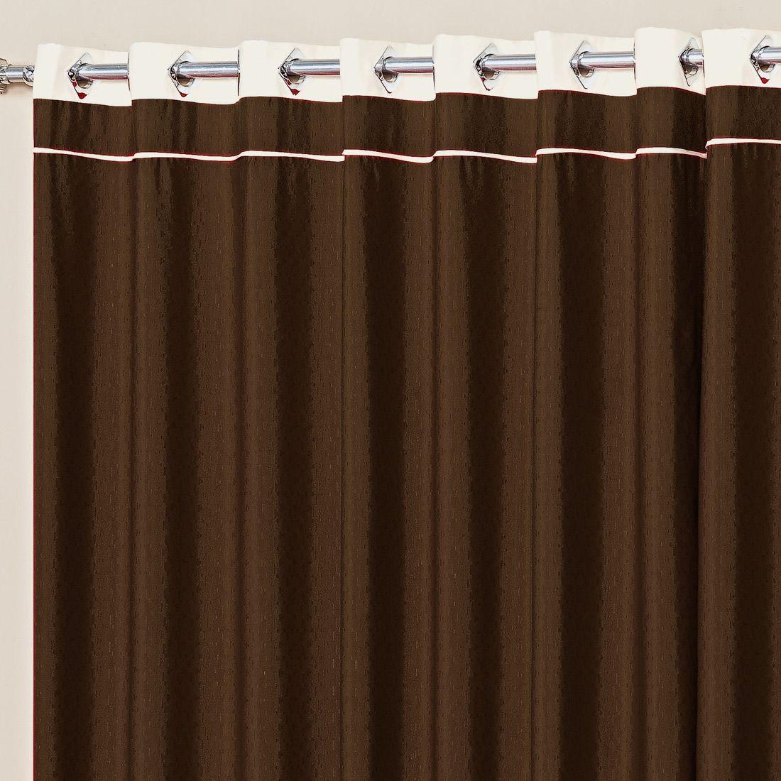 Cortina Marina Tabaco/Palha 2,00m x 1,70m p/ Varão Simples