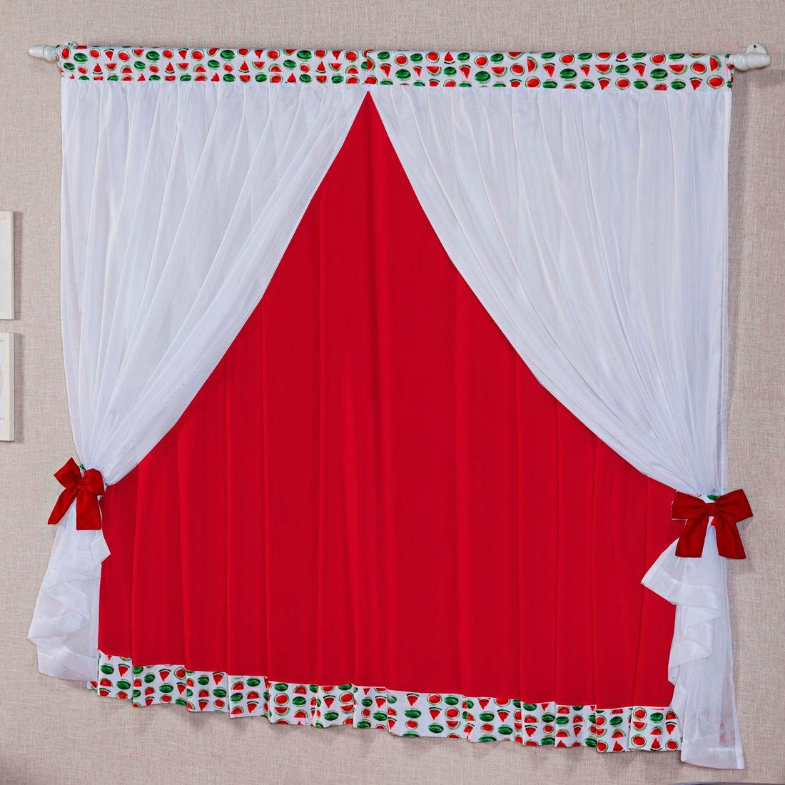 Cortina Melancia Branco/Vermelho c/ Voil 2,00m x 1,70m p/ Varão Simples