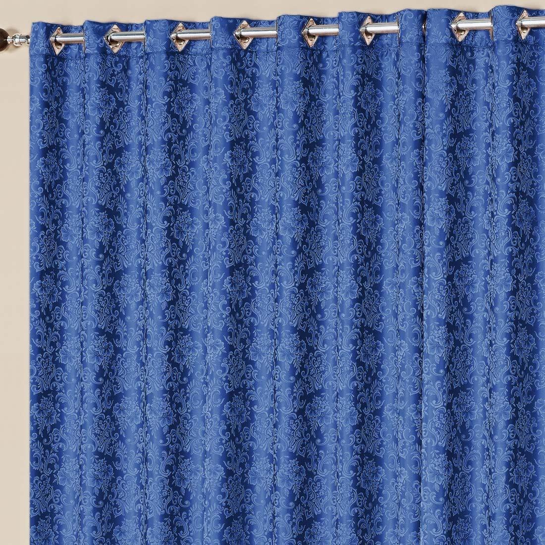 Cortina Nobre Jacquard Azul 2,00m x 1,70m p/ Varão Simples