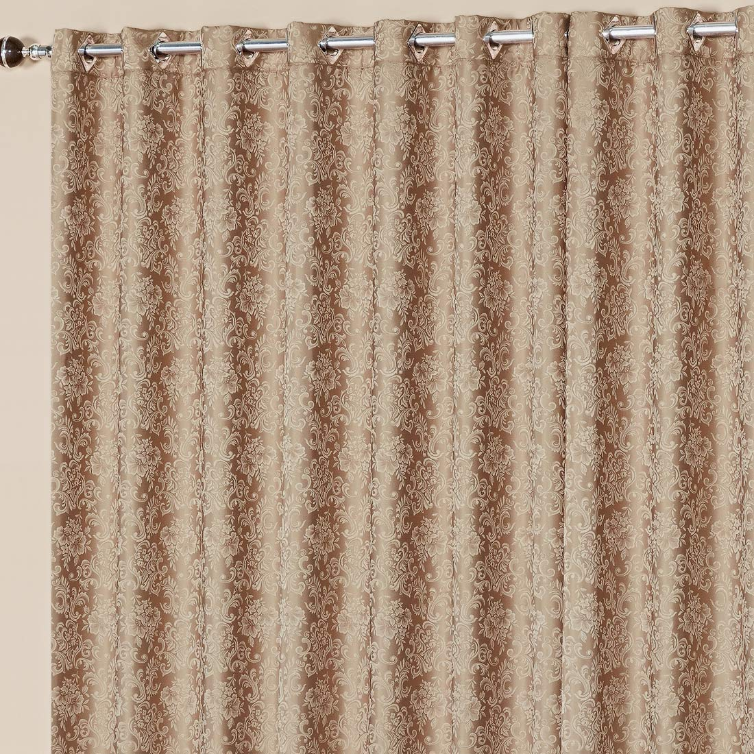 Cortina Nobre Jacquard Bege 3,00m x 2,50m p/ Varão Simples