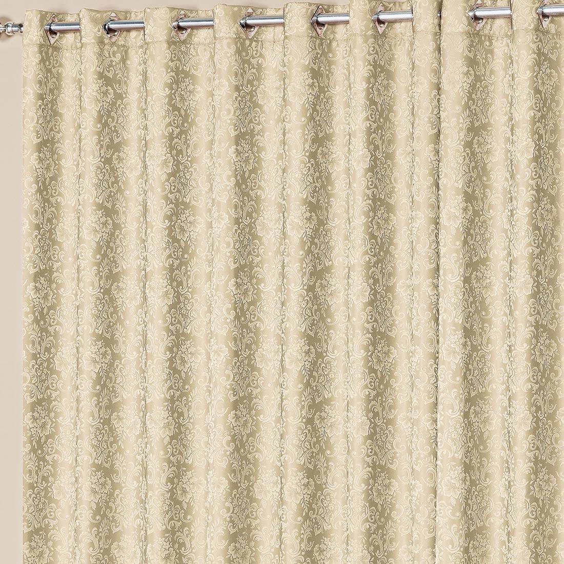 Cortina Nobre Jacquard Palha 3,00m x 2,50m p/ Varão Simples