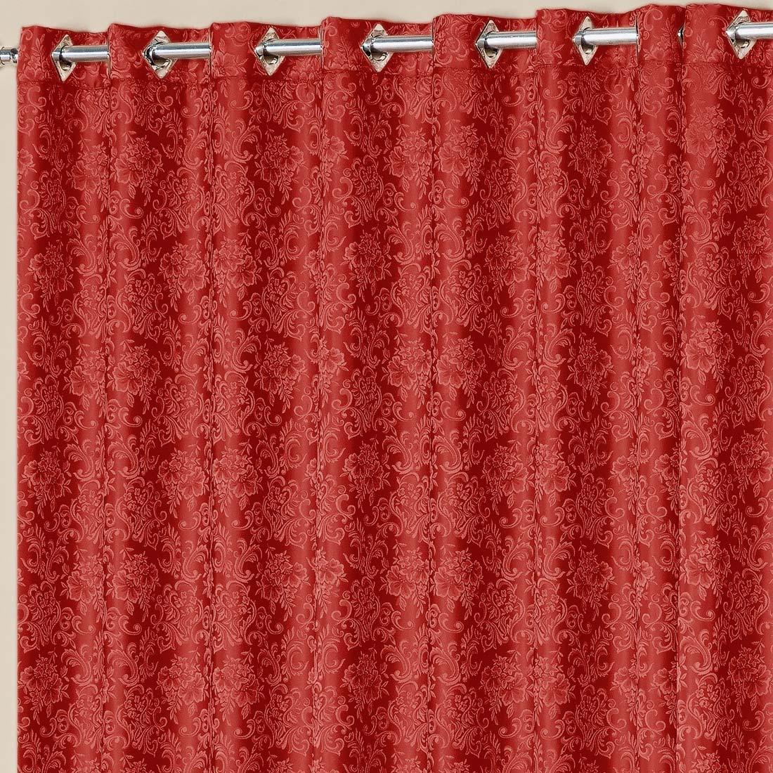 Cortina Nobre Jacquard Vermelho 3,00m x 2,50m p/ Varão Simples