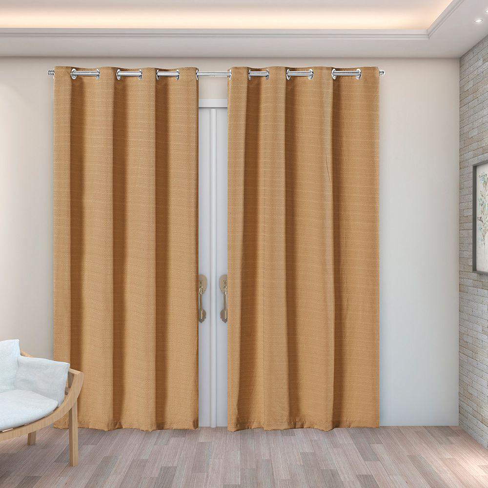 Cortina Rústica Texturizada Avelã 2,80m X 2,30m p/ Varão simples de até 2,00m