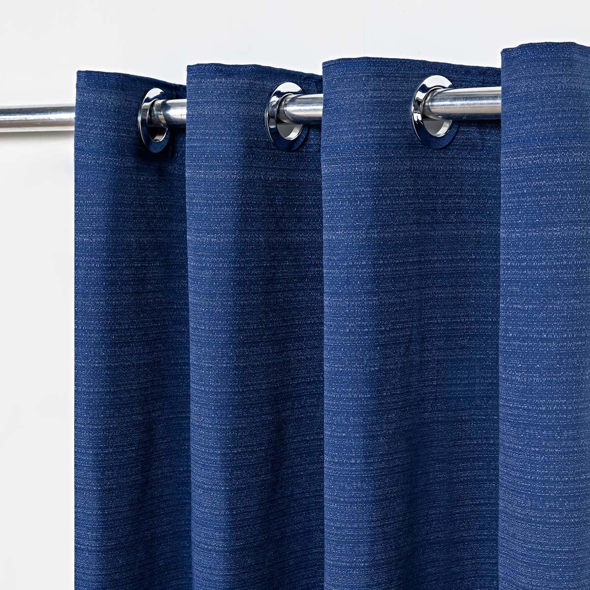 Cortina Rústica Texturizada Azul Marinho 2,80m X 1,60m p/ Varão simples de até 2,00m