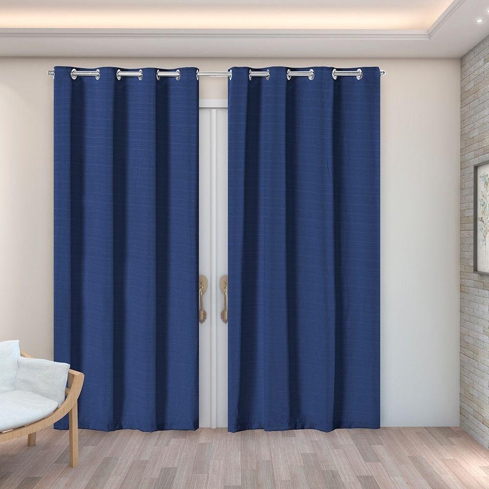 Cortina Rústica Texturizada Azul Marinho 2,80m X 2,30m p/ Varão simples de até 2,00m