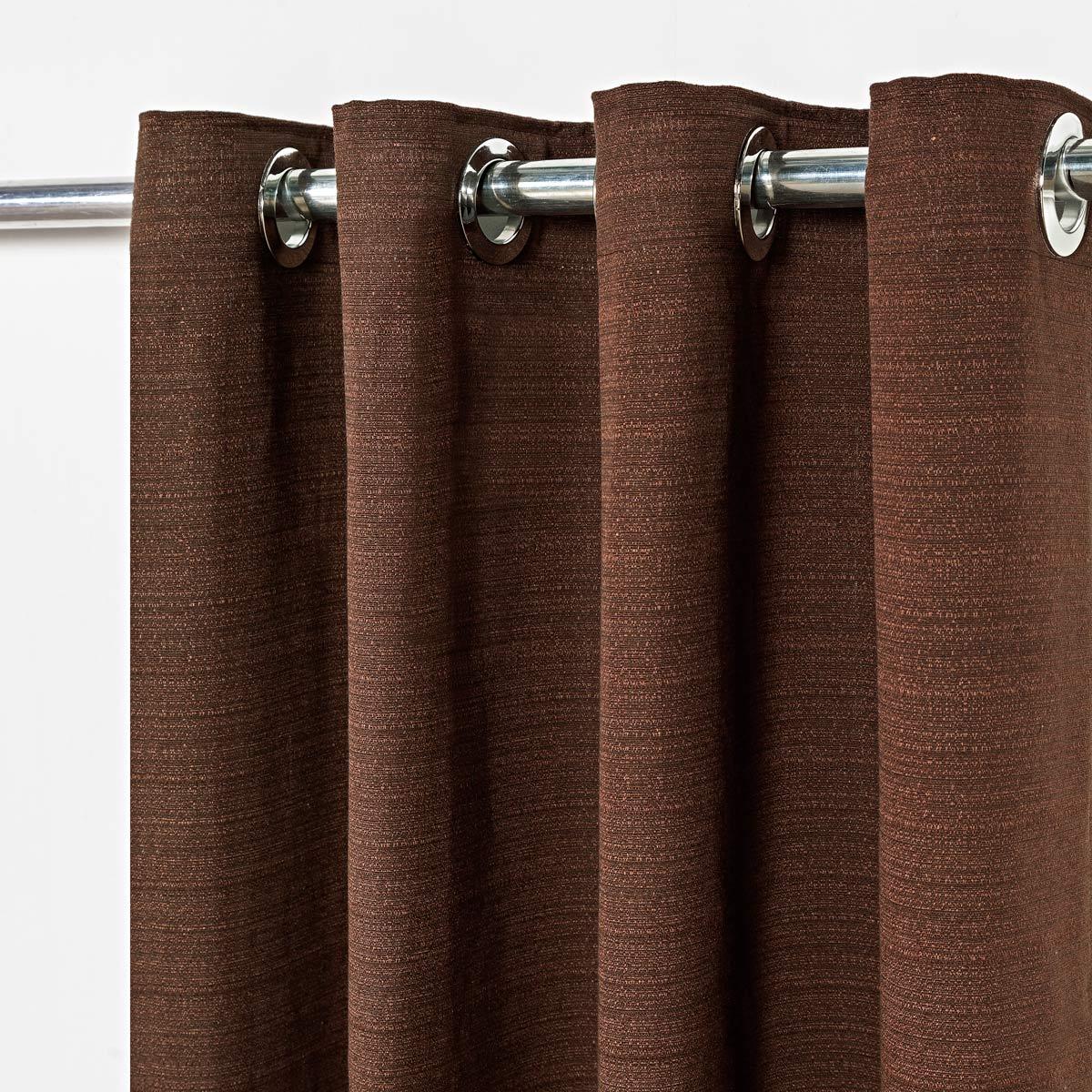 Cortina Rústica Texturizada Tabaco 2,80m X 1,60m p/ Varão simples de até 2,00m