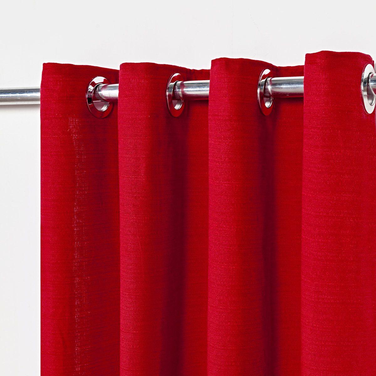 Cortina Rústica Texturizada Vermelho 2,80m X 1,60m p/ Varão simples de até 2,00m