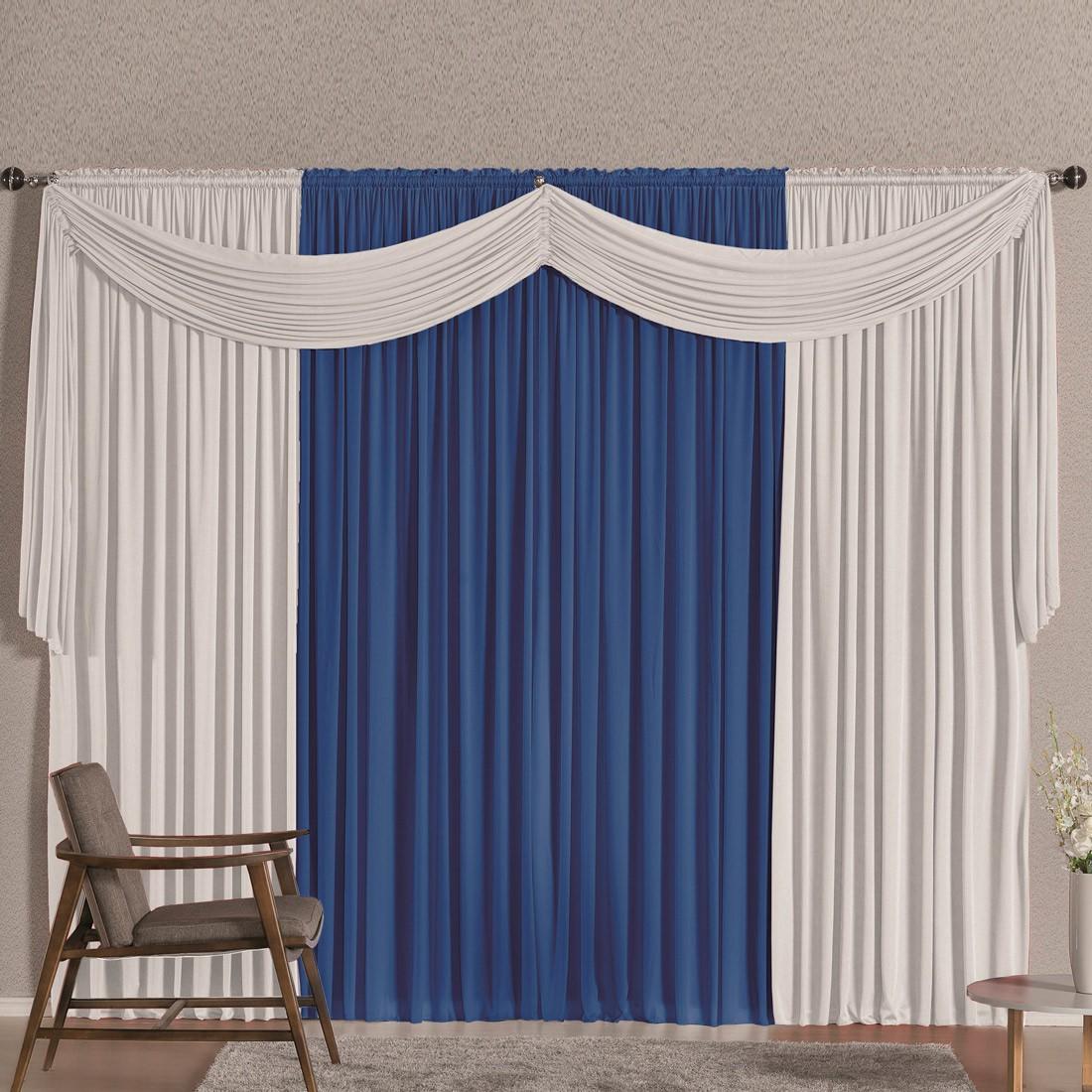 Cortina Versatty Azul/Branco 2,00m X 1,70m p/ Varão Simples