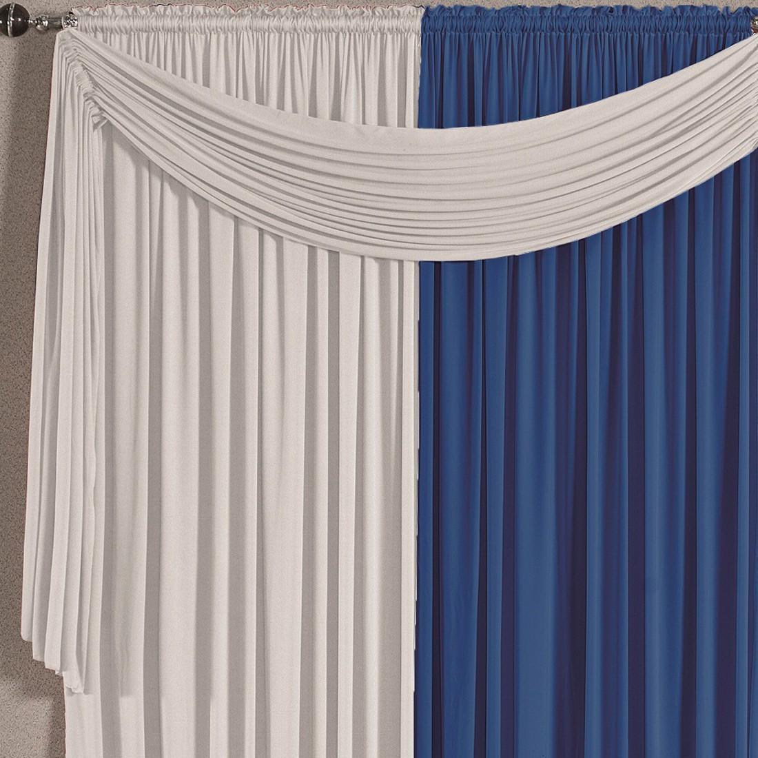 Cortina Versatty Azul/Branco 3,00m X 2,60m p/ Varão Simples