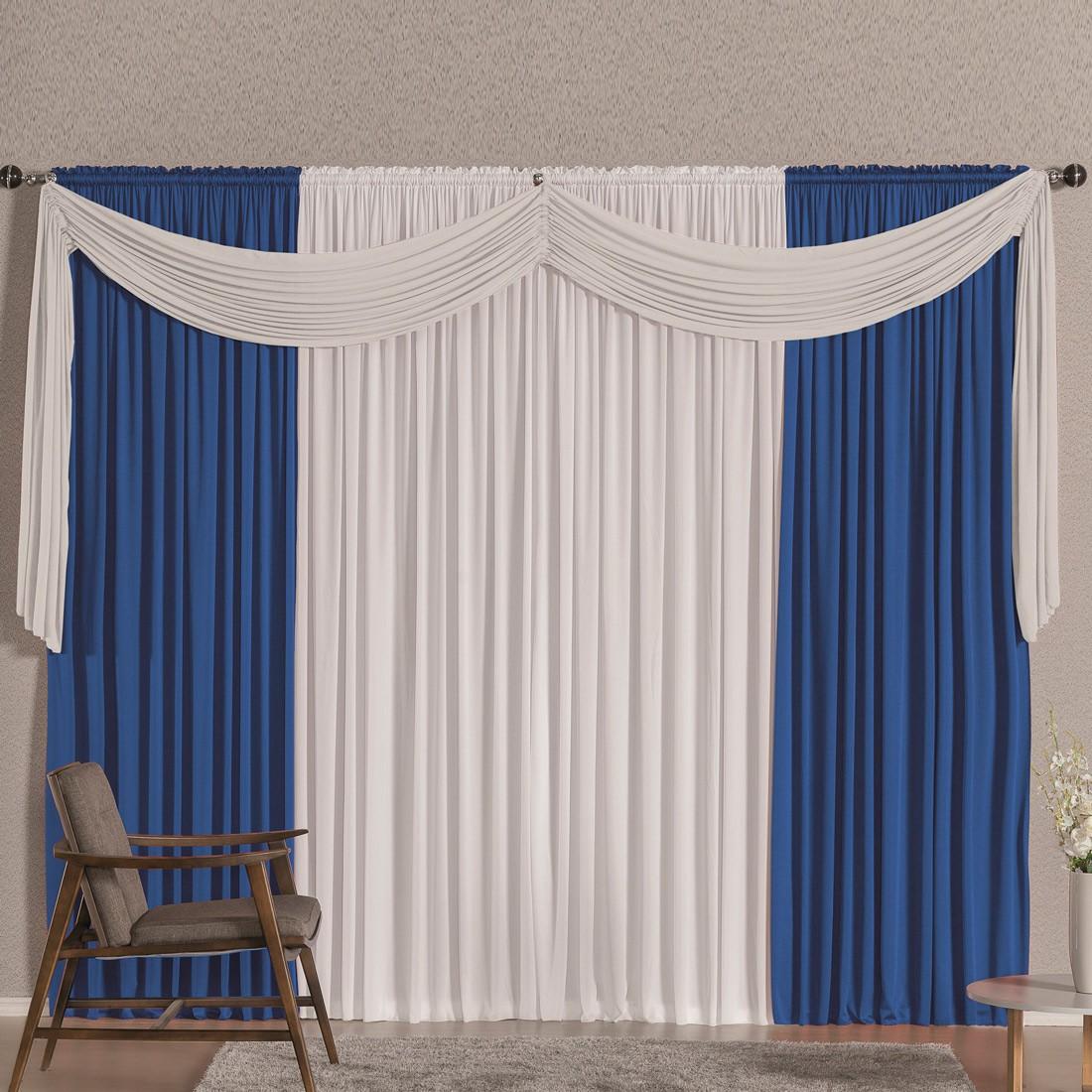 Cortina Versatty Azul/Branco 4,00m X 2,60m p/ Varão Simples