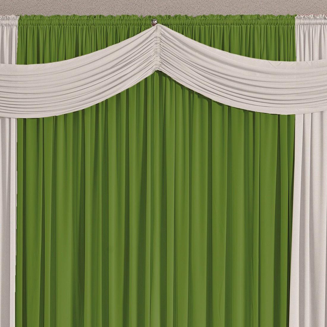 Cortina Versatty Verde/Branco 3,00m X 2,60m p/ Varão Simples