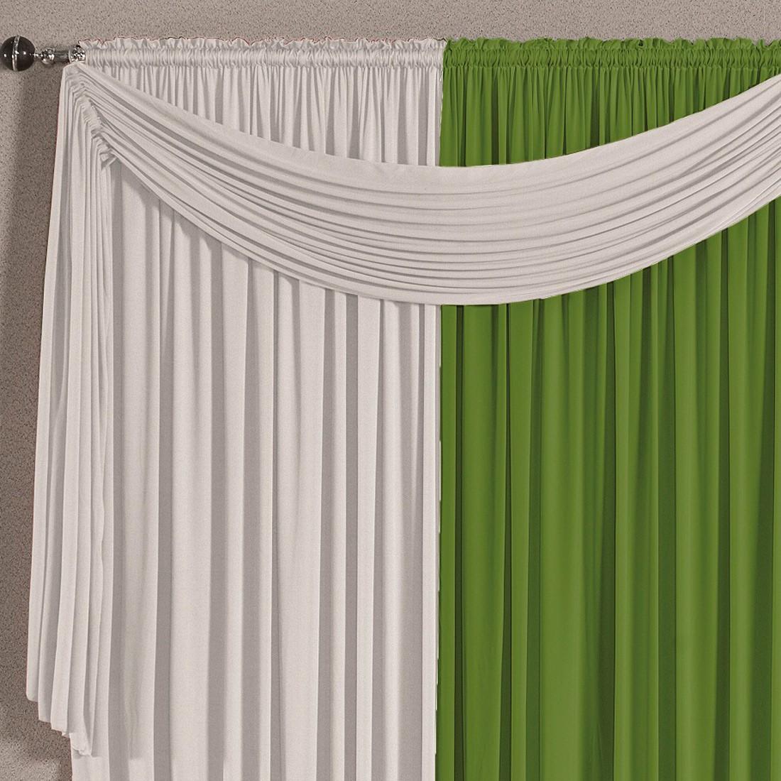 Cortina Versatty Verde/Branco 4,00m X 2,60m p/ Varão Simples