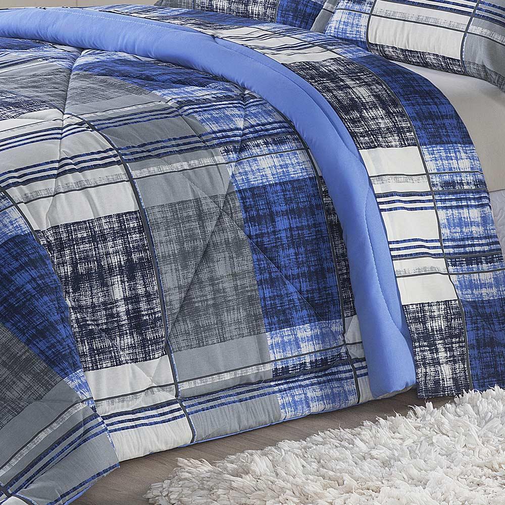 Edredom Monschau Azul Solteiro Dupla Face 120 Fios