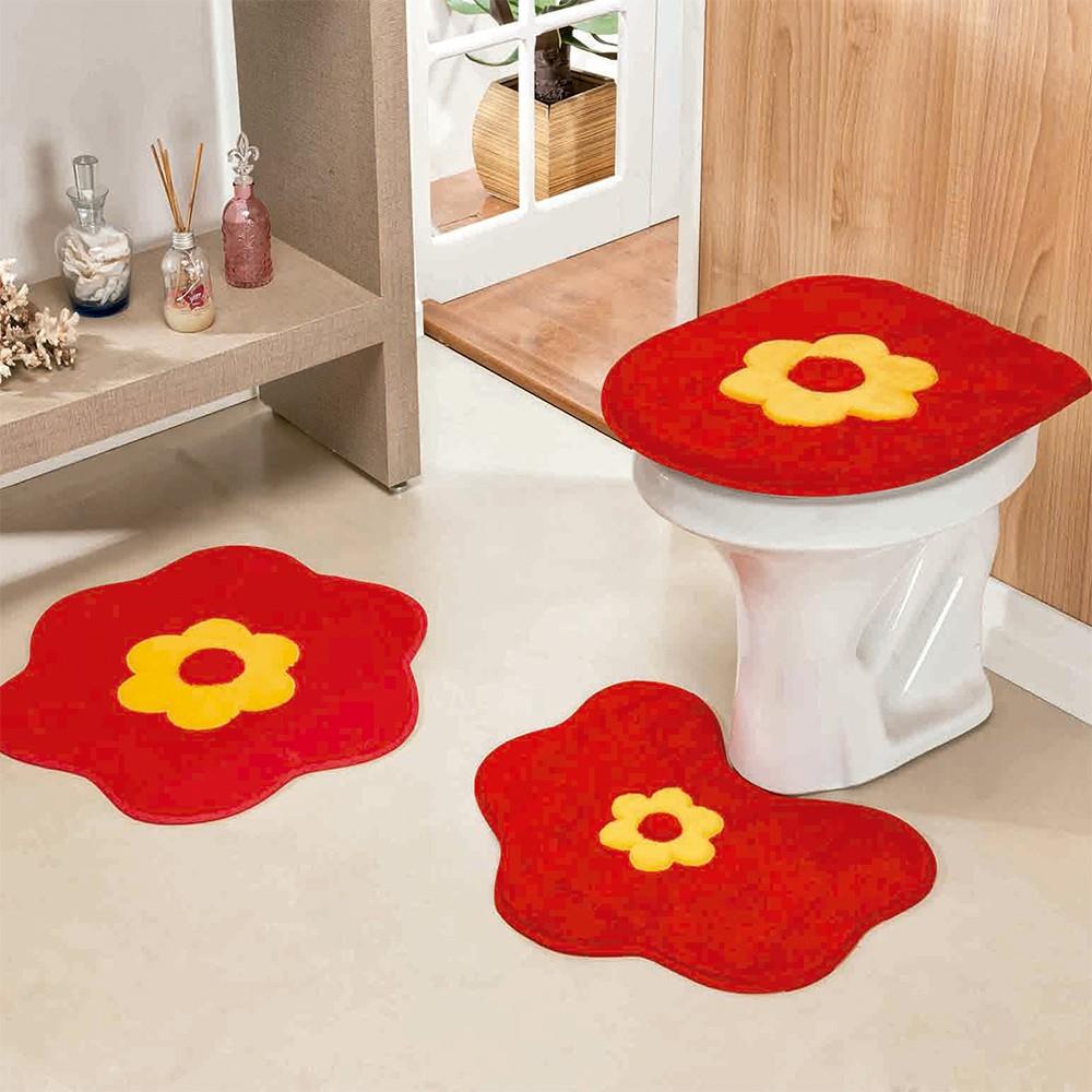 9594596ba3 Jogo.Banheiro Formato Standard Margarida 3 Peças Vermelho - DOURADOS ...