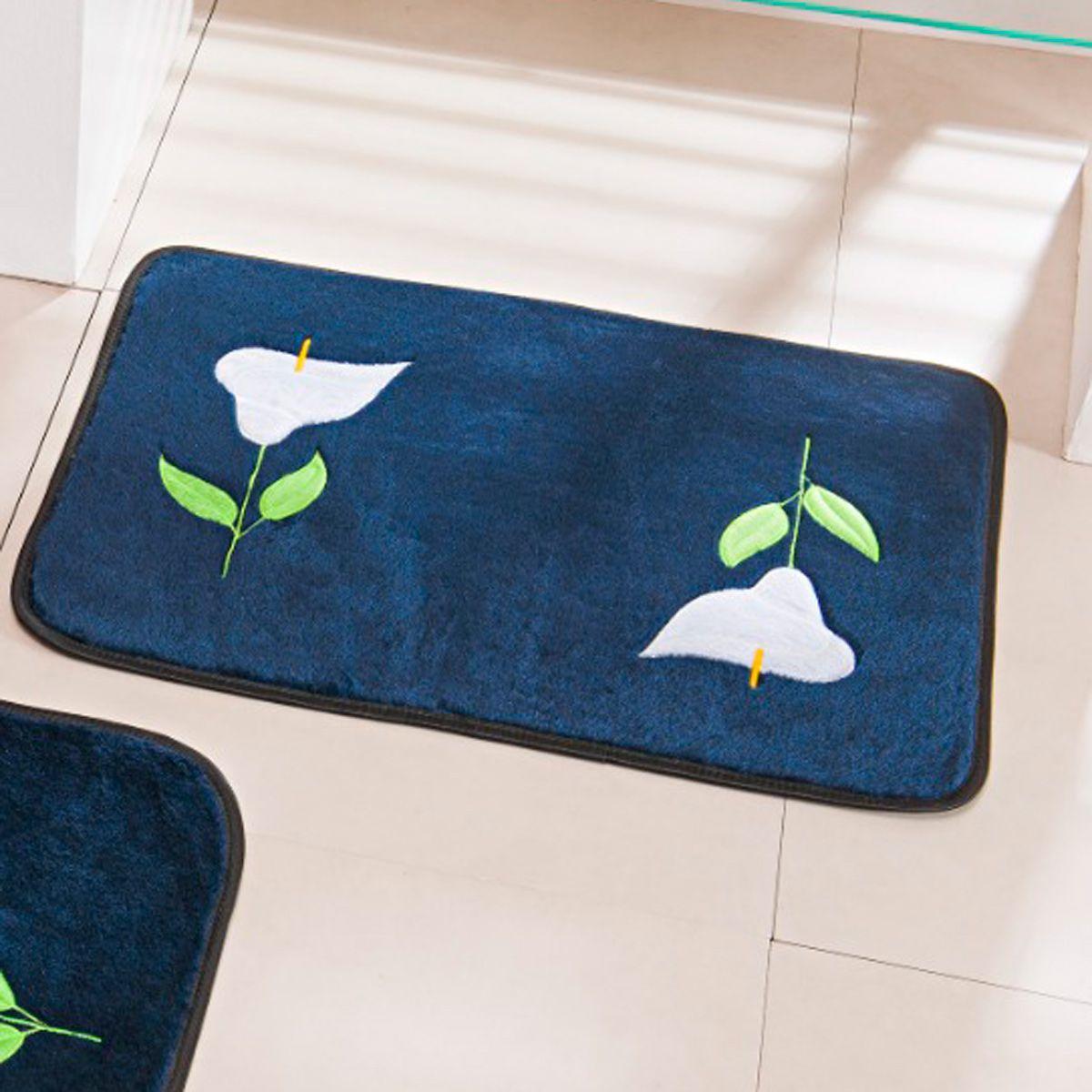Jogo de Banheiro Premium Bordado Copo de Leite Azul Marinho 03 Peças