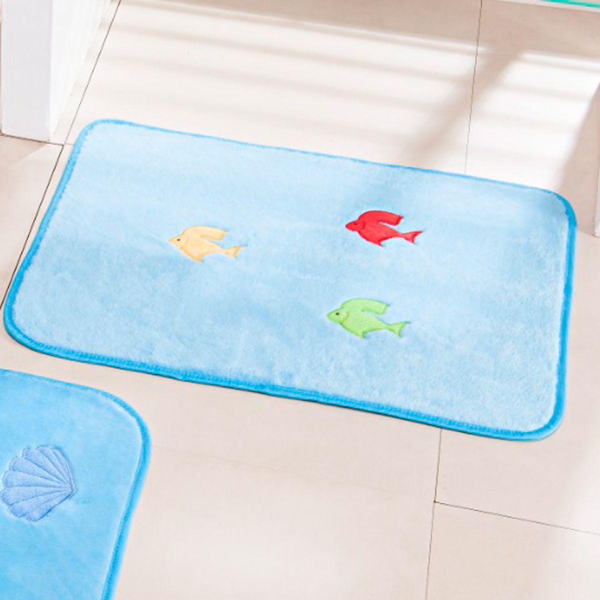 Jogo de Banheiro Premium Bordado Fundo do Mar Azul Turquesa 03 Peças